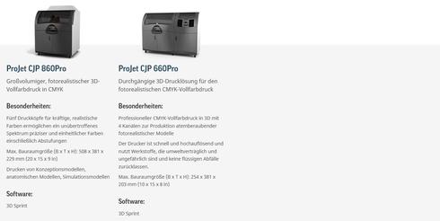 ZPrinter ProJet x60 Color Jet Printing 3D Drucker - Modellübersicht