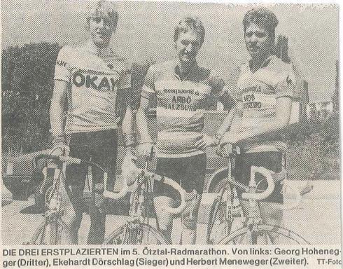 Ötztal-Radmarathon, erschienen 18.8.1986 Tiroler Tageszeitung