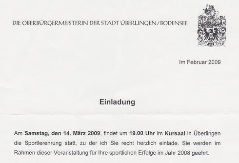 Sportlerehrung am 14. März 2009