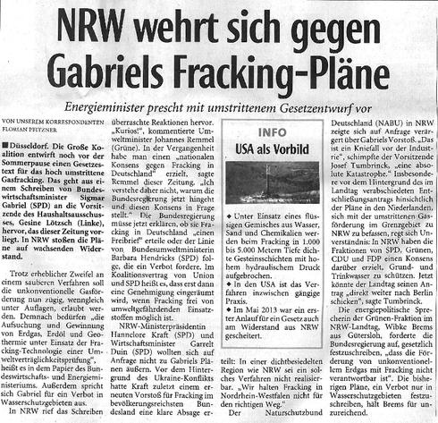 LZ-Bericht: NRW wehrt sich gegen Gabriels Fracking-Pläne