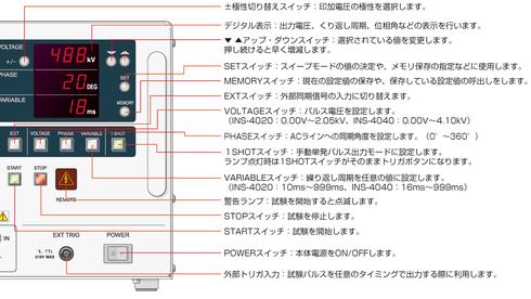 Noiseken インパルスノイズシミュレーター INS-4040のフロントパネル