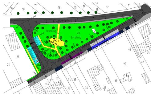 """1. Entwurf der """"Insel"""" vor der Schule/ Quelle: Projektgruppe der Bauschule Gotha"""