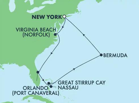 Map of Ports of Call - Norfolk, Orlando, Great Stirrup Cay, Bermuda, New York