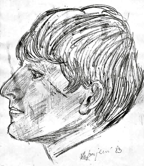 Vlado Franjević: Josip Herdoman (drawing, 1983)
