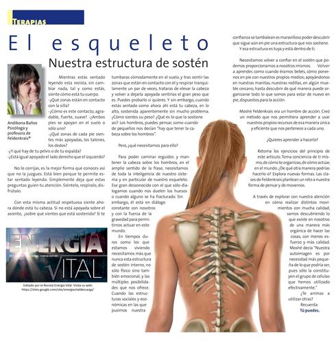 """Artículo """"El Esqueleto nuestra estructura de sostén"""" - Andikona Baños Psicóloga y profesora de Feldenkrais"""