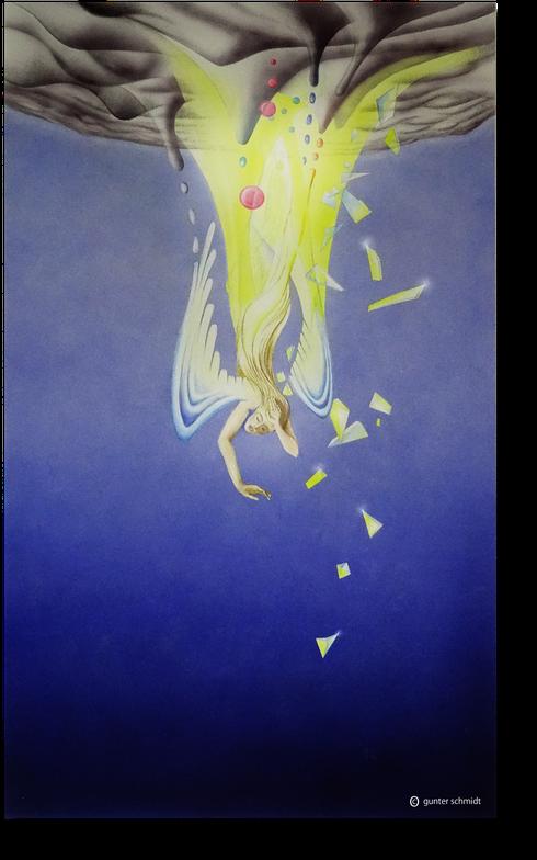 Graphische Illustration eines aus dem Himmel stürzenden Engels. Fallender Engel. Stürzender Engel. gefallener Engel.  Der Engelsturz. vom Himmel in die Hölle. Der Fall des Engels. Der verlorene Himmel das verlorene Paradies.