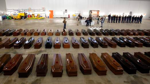 The bodies of African migrants  in Lampedusa, Italy