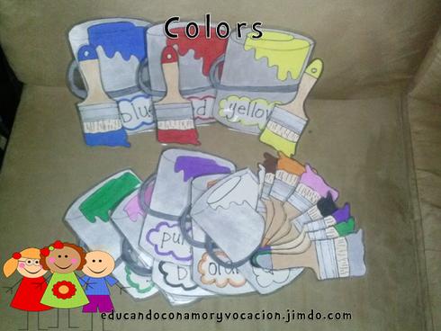 Tema: Los colores Objetivo: Reconocerá los colores por medio del juego: parea la brocha con el pote de pintura.