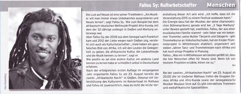 Trommeln Frankfurt Fallou Sy Gießen Kindertrommeln