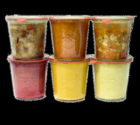 Snackboxen und Gerichte im Einmachglas