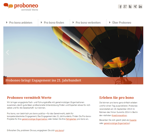Screenshot Proboneo-Website