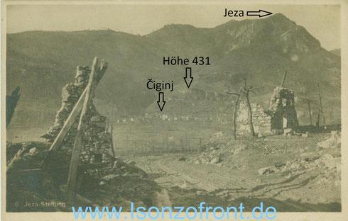 Die Jeza und Ciginj in der Bildmitte. Fotografiert aus den Trümmern von Kozaršče.