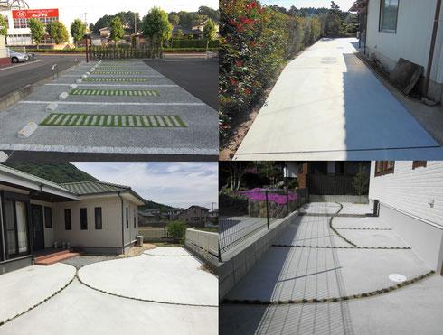 コンクリート舗装 (コンクリートハケ引き仕上げ・コンクリート洗い出し仕上げ)