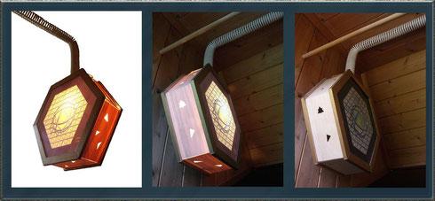 Bild:Objekt,HàVVII,Lampe,Holz,Acrylglas,Kunststoff,Sechseck,zerstört,David Brandenberger,d-t-b.ch,d-t-b,