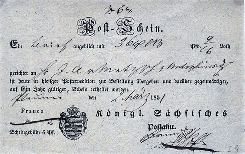 Beispiel eines sächsischen Postscheins