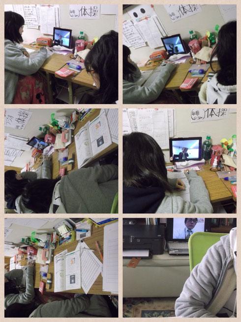 双子のK子、M子は、長テーブルに広々と教材を広げ、塾超の生授業を映してKJの授業空間を作り上げている。教室にいる状態を完全再現している。壁には、本校の講習中にしているラジオ体操とまで書いてある。