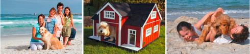 """""""Dogs Dreamhouse"""" mit modernen Hundehäuschen in verschiedenen Formen, Farben und Stilen (mi.). Im Trend liegt  außerdem """"Urlaub mit dem Hund"""" mit Angeboten von Lenareisen.de (Bilder außen, jeweils Halle 1), Fotos © Anbieter."""