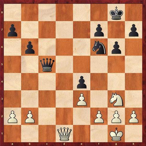 Schachaufgabe: Eine Schachstellung aus einer Partie zwischen dem späteren Weltmeister Euwe und Davidson (Amsterdam 1925). Euwe ist am Zug und erreicht eine Gewinnposition.