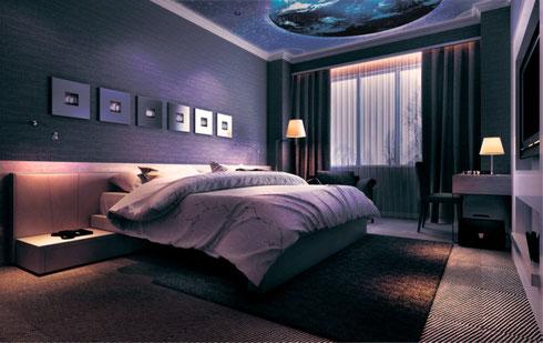 3D Spanndecke Schlafzimmer Nachts mit Erde und Sternen