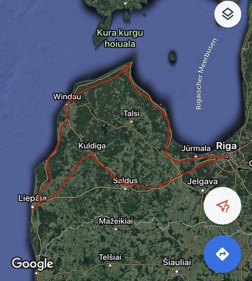 Isabells und Julias Route durch Lettland