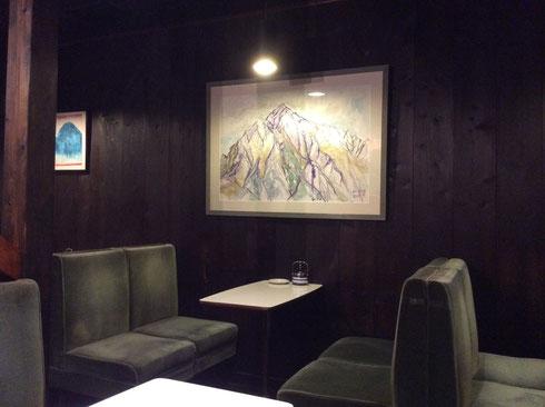 喫茶「穂高」の店内に飾ってある『剱岳』