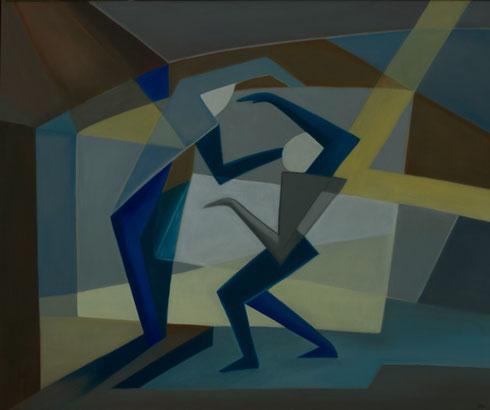 Claudine Oliviero, Verkörperte Geometrie, Öl und Acryl auf Leinwand, 1999