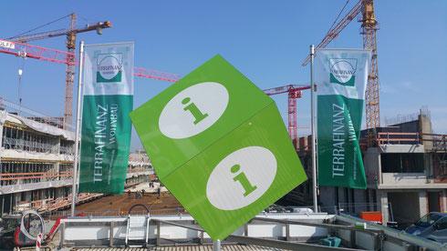 Werbewürfel 120x120cm Bauwerbung München