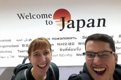 Ankunft am Flughafen Narita, Japan