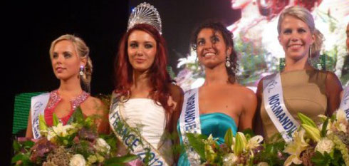 La nouvelle Miss Normandie entourée de Miss France et de Miss Normandie 2012 (photo La Manche Libre)