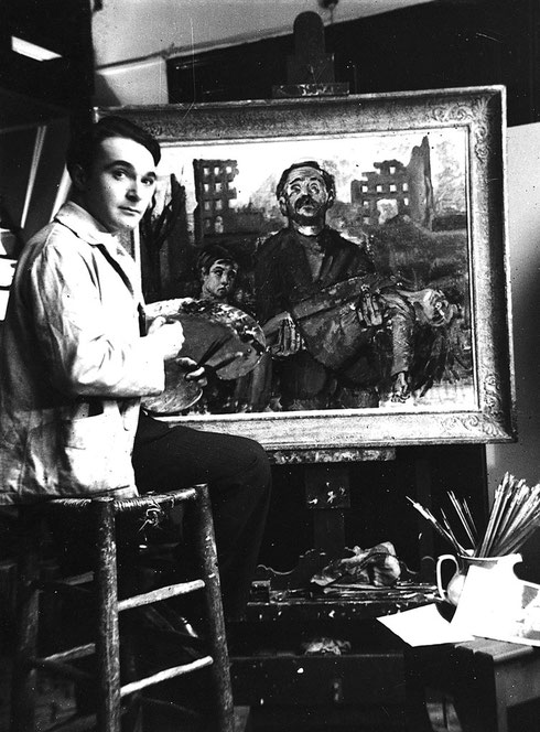 André Hambourg peignant la toile «Civilisation 37» en  1937 dans son atelier