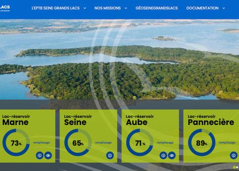 Capture du site de l'EPTB Seine grands lacs et situation de remplissage au 9 février.