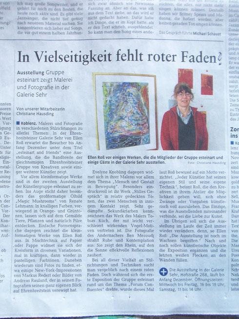 Rheinzeitung, 9.November 2013  zum Vergrößern bitte anklicken