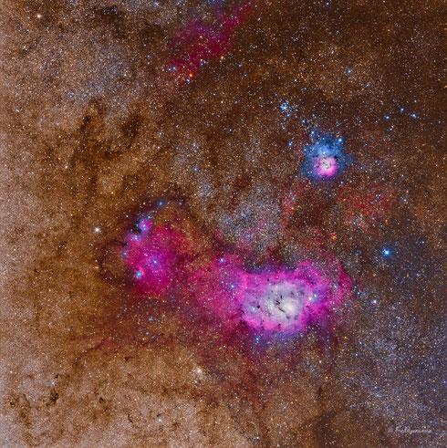 Nebulosa La Laguna (M8) y Nebulosa Trifida (M20)
