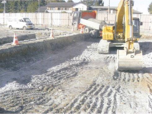 ビッカー割岩後、掘削状況