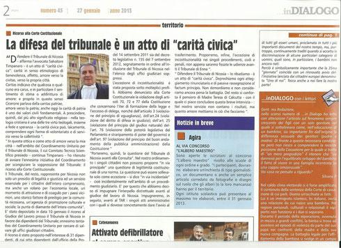 Articolo pubblicato su <<...inDIALOGO >>  N. 45 del 27.1.2013