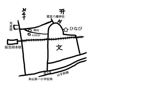 岡本駅からの地図