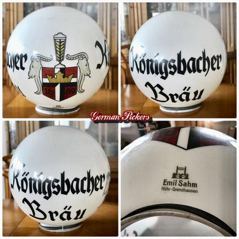 Königsbacher Brauerei Bräu Koblenz - Leuchtreklame  Glasglobe handbemalt  Emil Sahm Höhr-Grenzhausen  diente als Aussenleuchte  um 1910 -  Königsbacher Brewery - glass globe  Germany 1910`s