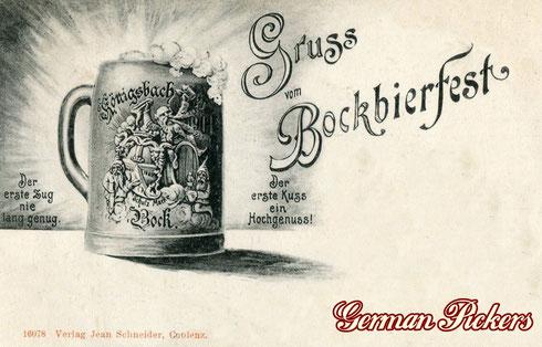 """Königsbacher Bräu / Brauerei Ansichtskarte  Gruss vom Bockbierfest  um 1900  """"Der erste Zug nie lang genug - Der erste Kuss ein Hochgenuss!""""  mit Ansicht eines Bockbierkruges"""