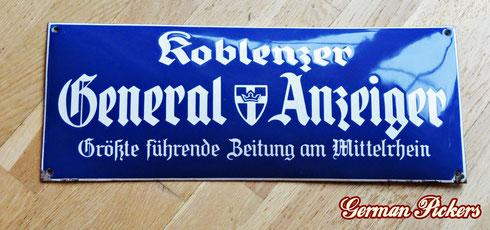Koblenzer Generalanzeiger - Mittelrhein - Emailschild  heutige Rhein Zeitung  Koblenz / Deutschland um 1930, 20 x 50 cm  - Koblenzer Generalanzeiger - porcelain sign  Koblenz / Germany 1930`s