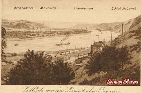 Königsbacher Bräu / Brauerei Ansichtskarte  Ansicht der Königsbacher Brauerei  Burg Lahneck - Marksburg - Johanniskirche - Schloß Stolzenfels  Coblenz um 1910