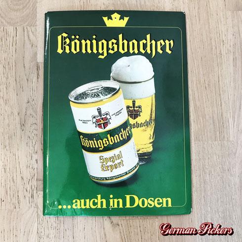 Königsbacher auch in Dosen - Pappschild  Deutschland 1960er