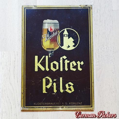 Klosterbrauerei Koblenz Metternich - Blechschild  Deutschland um 1940  C. Robert Dold Offenburg 35 x 20  - Klosterbrauerei Brewery tin sign  Germany 1940`s