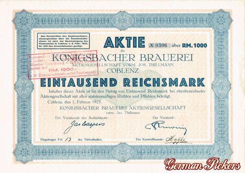 Aktie der Königsbacher Brauerei  1.000 Reichsmark  Coblenz, den 1. Februar 1925