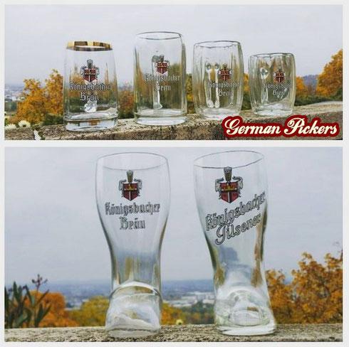 Biergläser der Königsbacher Brauerei / Bräu aus Koblenz  zwischen 1930 und 1960  teilweise emailliert
