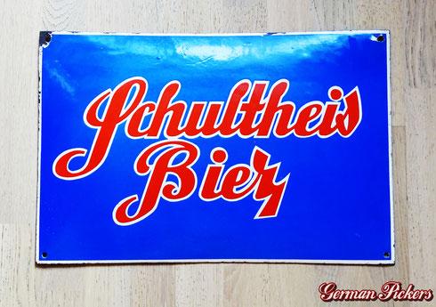 Schultheis Bier vom Rhein Weissenthurm - Emailschild  33 x 50 cm  Koblenz Weissenthurm um 1930 -  Schultheis Brewery - porcelain sign  Germany 1930`s