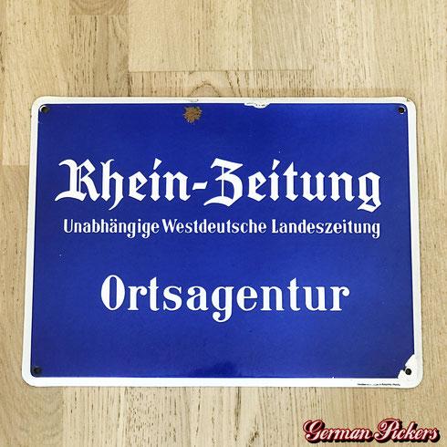 Rhein-Zeitung Emailschild  Unabhängige Westdeutsche Landeszeitung  Ortsangentur  um 1960  50 x 33 cm  Hersteller: Emaillierwerk Klimo & Bongartz Hamburg -  Rhein Zeitung - newspaper  porcelain sign - Germany 1960`s