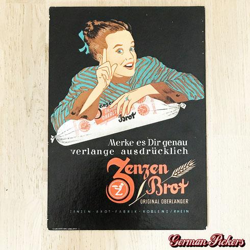 Zenzen Brot Fabrik Koblenz  Original Oberländer  Pappschild  45 x 30 cm  um 1950 -  Zenzen bread factory  paper sign  Germany 1950`s