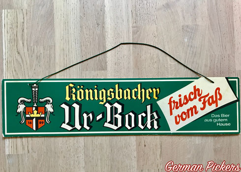 Königsbacher Ur Bock - Pappschild  Koblenz um 1950  58 x 14 cm