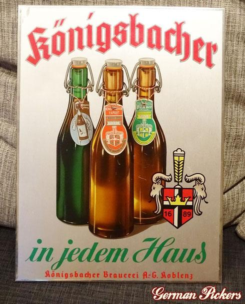 Königsbacher - in jedem Haus - Emailoid Schild  Deutschland um 1930