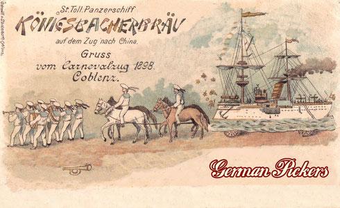 """Königsbacher Bräu / Brauerei Ansichtskarte  """"St. Toll Panzerschiff Königsbacherbräu auf dem Zug nach China""""  Gruss vom Carnevalzug  Coblenz von 1898"""